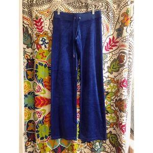 JUICY COUTURE cobalt blue velour track sweatpants